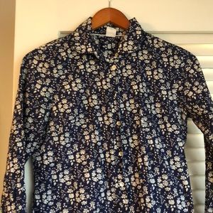 JCrew navy and white cotton floral button down.